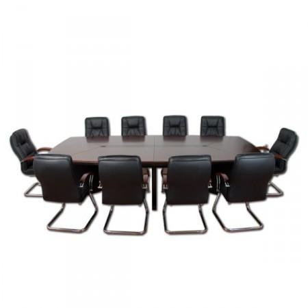 Luxusní konferenční stůl s 10 ks kožených židlí