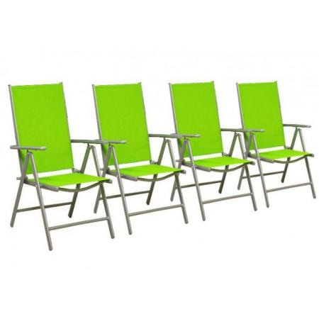 4 ks zahradní židle z textilním sedákem, zelená