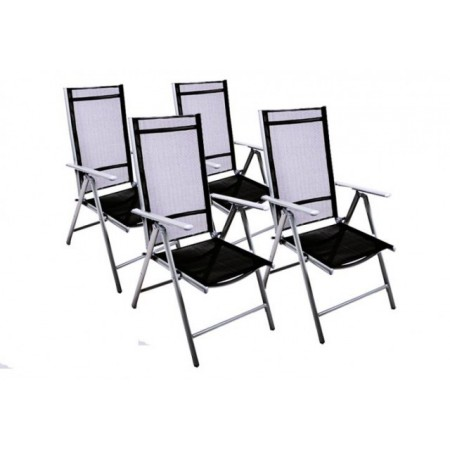 4 ks zahradní židle s hliníkovým rámem, textilní sedák a opěradlo