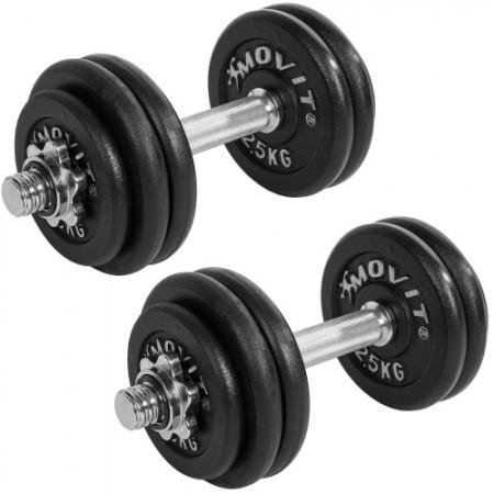 2 profesionální jednoruční činky s kovovými kotouči, 30 kg