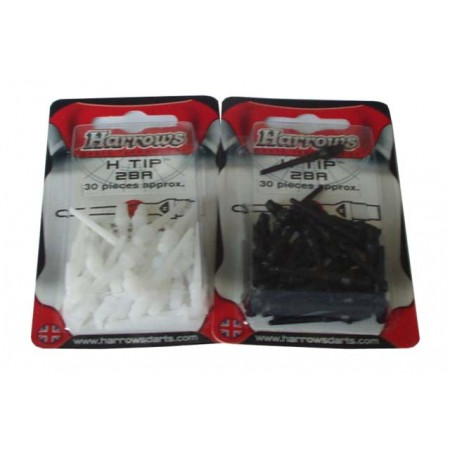 30 ks plastové hroty k šipkám Harrows černé / bílé