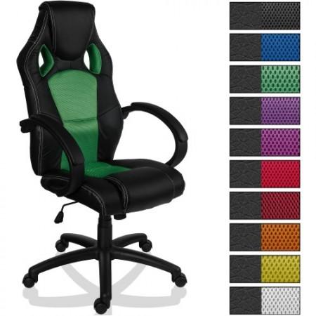 Kancelářská židle s plynulým nakloněním, sportovní design, zelená / černá