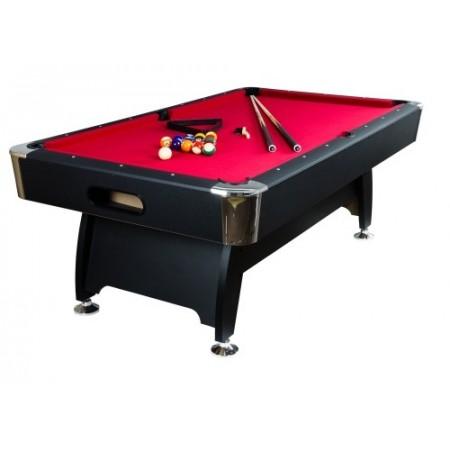 Kulečník / billiard 8 ft, nastavitelné nohy, černý rám, červený potah