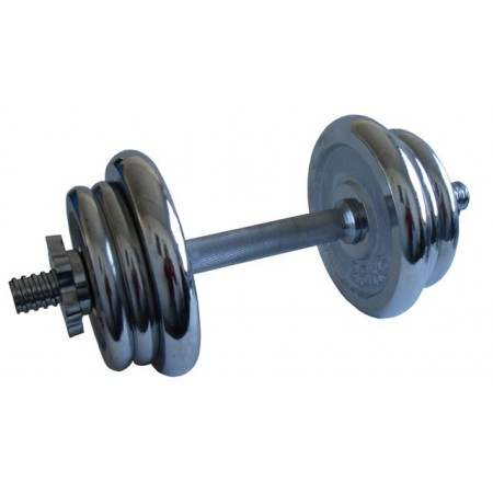 Jednoruční činka nakládací, chromovaná, 11 kg