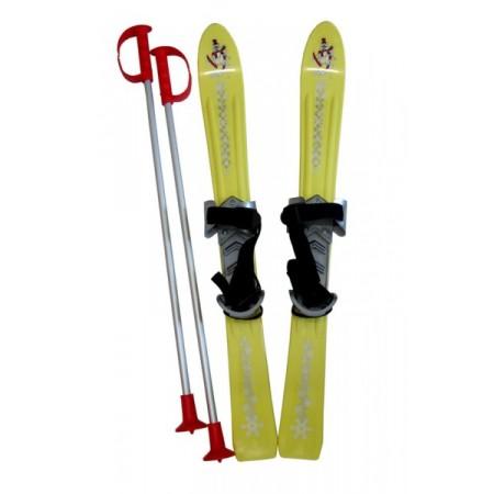 Dětské plastové lyže vč. vázání a hůlek, 70 cm, žluté