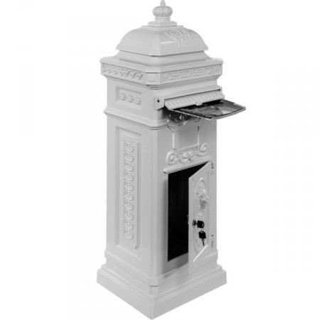 Ozdobná hliníková poštovní schránka, antický styl, bílá