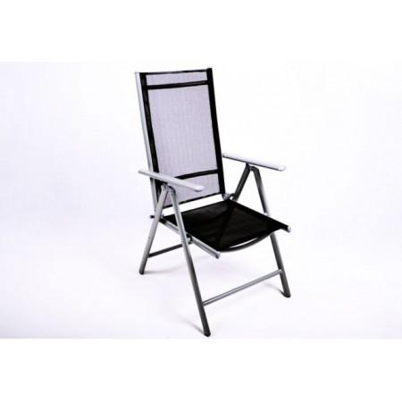 Zahradní židle s nastavitelným opěradlem, textilie a lakovaný hliník