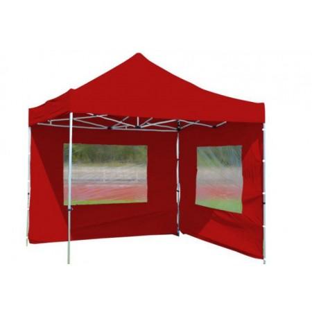 Zahradní stan nůžkový, 3x3 m, 2 boční stěny, červený