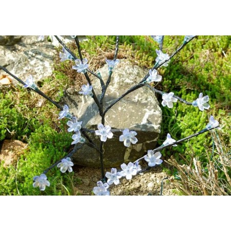 Umělý zahradní strom se svítícími květy, solární napájení, 78 cm