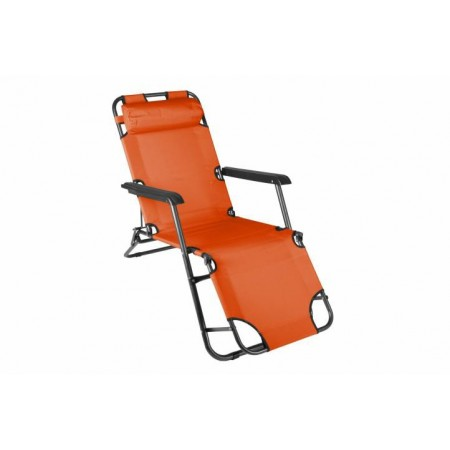Zahradní skládací lehátko s kovovým rámem, oranžové