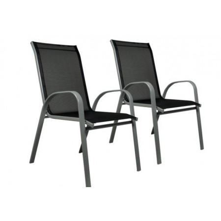 2 ks kovová zahradní židle s textilním výpletem, práškový nástřik