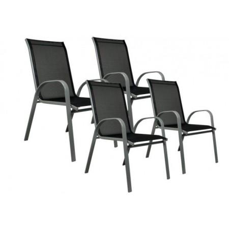 4 x zahradní stohovatelná židle s kovovým rámem