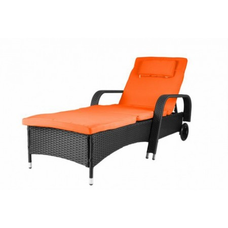 Polohovatelné luxusní ratanové lehátko s kolečky - oranžové